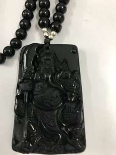 Obsidian pendant necklace 关帝黑耀石