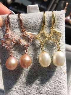 特價!100%天然淡水珍珠純銀金色.玫瑰金色珍珠耳環