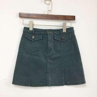 🚚 水洗舊感深綠丹寧短窄裙