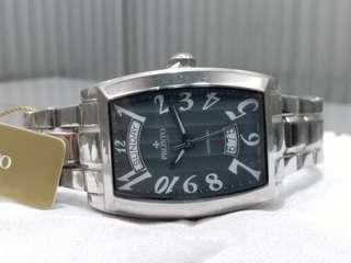 Pronto~ 百浪多~ 瑞士製 swiss made 全自動機械男錶,不需電池,酒桶型,NOS, 約20年前, 罕有靚灰色錶面,罕有全新,有吊牌有原裝盒