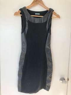 Kookai Black Bodycon Dress Leather Trim (2)