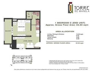 Torre De Manila 1BR corner unit for sale