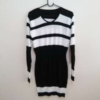 Black and white dress stretchy material winter fashion striped