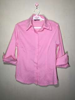 Pink 3/4s Sleeves Blouse