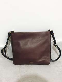 1000% authentic FOSSIL crossbody leather bag - chocolate brown