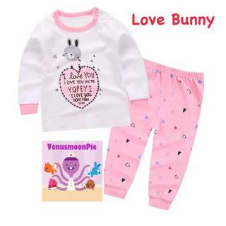 Love bunny kids pajamas set