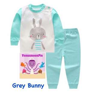 Grey bunny kids pajamas set
