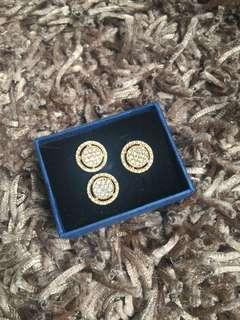 Diamond set 14k earrings and ring