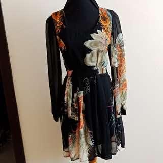 Flowery black dress