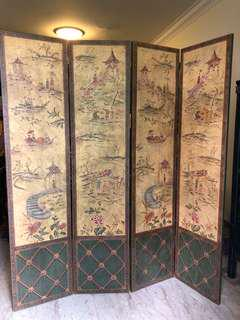 Chinese painted wooden folding screen with 4 panels