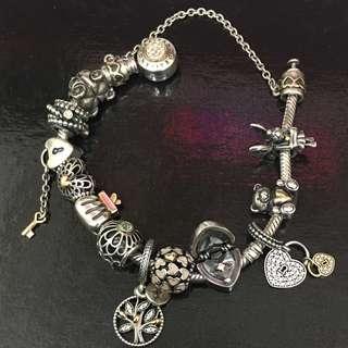 Pandora two-tone bracelet +charms