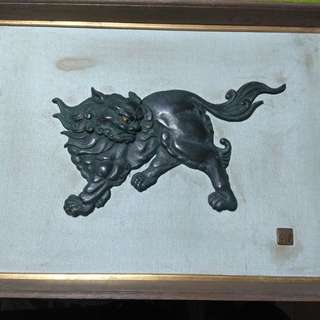 Antique foo dog wood frame made in japan