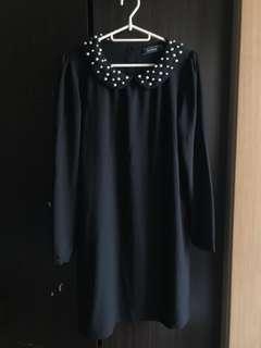 Black Dress Longs sleeve with pearls on colar