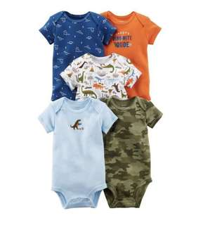 🚚 BN Carter's Baby Boy Dinosaur Set of 5 Bodysuits/Rompers 6mths & 12mths