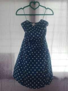 Polka dots tube dress (soft blue & white)