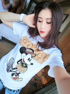 🌷Gucci inspired top ( mickey print )   🌻Cotton  💐two colors 🌷fit S to L (One Size) 🎀Good Quality 💕