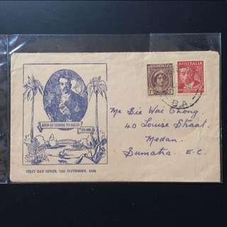 FDC Vintage First Day Cover - Australia 1948 - Von Mueller & 1943 Queen Mother Stamp