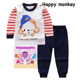 Happy monkey kids pajamas set