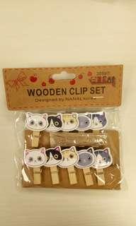 Kitty wooden clip set
