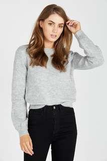 Grey knit crop bell sleeve jumper sweater size 6 XS