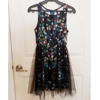 Divided by H&M tulle- wrapped, multi- coloured, a- line dress