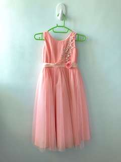 Peach Flowergirl Long Dress Soft Tulle