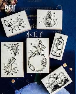 6個 小王子木質印章 diy手帳卡片温暖童話印章