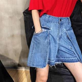 VM 2018春夏新款 歐美立體大口袋設計 復古鬚邊 寬鬆藍色牛仔短褲