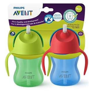 Avent Straw Cup 7oz - blue/ green color