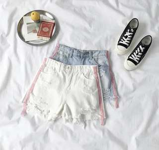 red line denim shorts