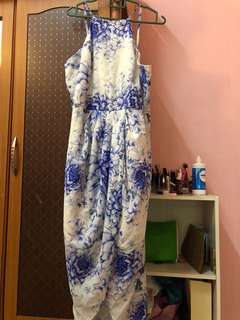Tulip floral blue dress with postage