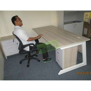EXECUTIVE TABLES WITH SIDE CABINET - OAK COLOR--KHOMI