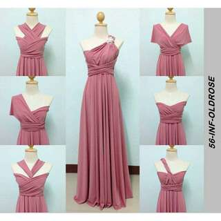 Infinity dress with tube color old rose