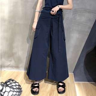 VM 2018春夏新款 港風潮流 簡約復古 寬鬆顯瘦雙頭褲腰設計 高腰八分工裝闊腿褲