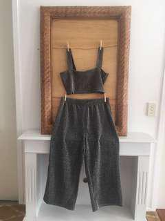 Glitter pants & crop set