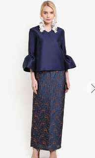 Lubna Bell Sleeve Top with Metallic Skirt