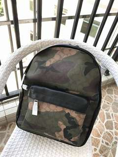 Coach camouflage backpack leather