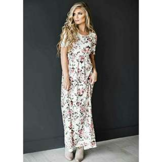 Floral maxi long elegant white dress