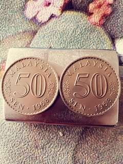 Duit Syiling 0.50 Tahun 1968 Belah tengah