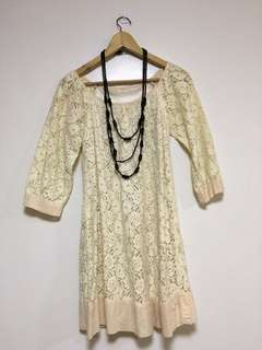 Vintage style cream lace dress