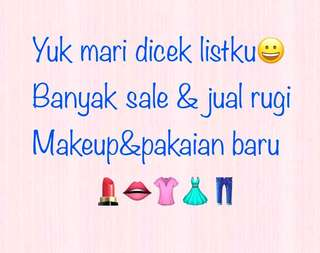 Sale&jual rugi makeup &pakaian baru&preloved