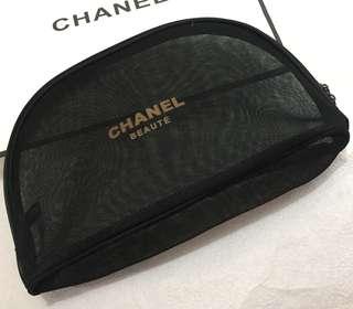 Chanel 黑網紗大化妝袋