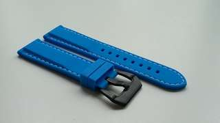 NEW 20mm, 22mm, 24mm SKY BLUE HIGH QUALITY RUBBER STRAP WITH PRE V BUCKLE FOR SEIKO, PANERAI, SINN AND SIMILAR DIVER WATCHES_