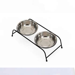 Double stainless steel pet bowls (M)