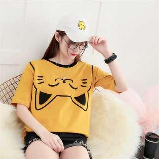 PO Cute Upside Down Cat Ear Head Print T-Shirt 3 Colours Ulzzang