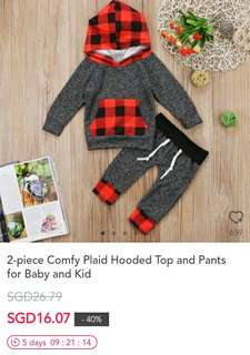 2 piece Comfy Plaid Hooded Top and Pants for Baby and Kid
