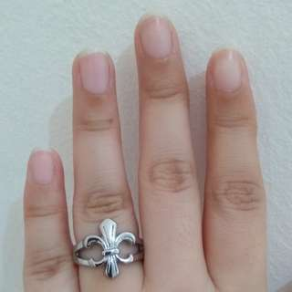 Stainless steel fleur de lys ring size 7