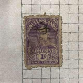 Stamp - Queensland 1910 - 1D Revenue Duty Stamp (Rare)