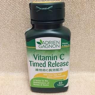 Adrien Gagnon Vitamin C Time Release 60 Tablets 維他命C長效配方,全新,expiry date 5/7/2018, 有助維持骨骼和牙齒健康,