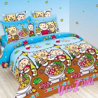 Yes Zone 卡通精品 大口仔Minna No Tabo大寶sanrio正版三件套床笠純棉被套四件套床單A